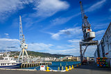 Crane in Wellington harbour docks, New Zealand