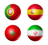 Russia football 2018 group B flags on soccer balls