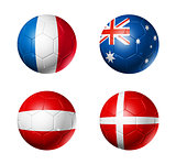 Russia football 2018 group C flags on soccer balls