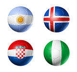 Russia football 2018 group D flags on soccer balls