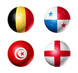Russia football 2018 group G flags on soccer balls