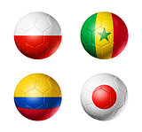 Russia football 2018 group H flags on soccer balls
