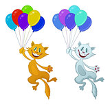 Funny Cat with Balloons, Set