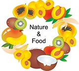 Set of cartoon food illustrations on white background. Exotic fruits.