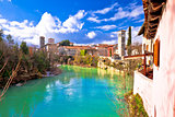 Cividale del Friuli on cliffs of Natisone river canyon view