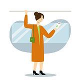 Woman character using smartphone in public transport. Vector flat cartoon illustration