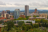 Downtown Portland Cityscape Nestled in Trees