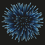 Fireworks blue on a black background