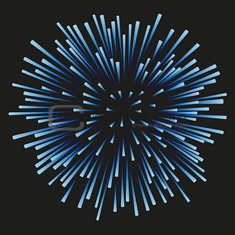 Fireworks blue on a black background
