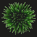 Fireworks green on a black background