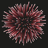 Fireworks red on a black background