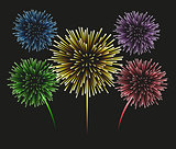 Fireworks set on a black background