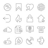 Simple UI icons for app, sites, programs. Different UI icons. Simple pictograms on white background. Editable Storke.
