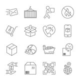 Shipping and Logistics Icons with White Background. Editable Str