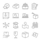 Parcel delivery service icon set. Fast delivery and quality service transportation. Shipping vector icons for logistic company. Editable Stroke