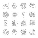 Artificial Intelligence. Vector icon set for artificial intelligence AI concept. Various symbols for the topic using flat design. Editable stroke.