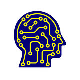 AI artificial intelligence icon. Techno human head logo concept creative idea sign learning icon people.