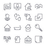 Real estate buying, selling and renting signs set change, bathroom, contract, plan and others. Icon set with editable stroke