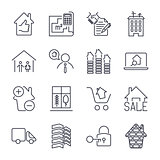 Real estate thin icons. Handshake, contract, bilding, bathroom, house and other. Icon set with editable stroke