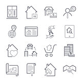 Real estate thin line art icons set. Residential and commercial building deals. Linear style symbols isolated on white. Icon set with editable stroke