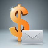 Dollar, envelope, mail, email icon.
