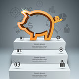 Pig money, stair, ladder - business infographic.