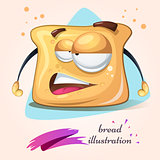 Cartoon funny, cute, crazy bread.