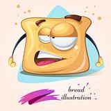 Cartoon funny, cute, crazy bread.
