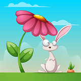 Cartoon landscape. Funny, cute rabbit illustration.
