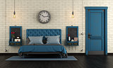 Blue retro master bedroom