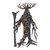Ent tree pattern silhouette ancient legend fantasy