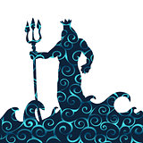 Poseidon god pattern silhouette ancient mythology fantasy