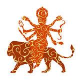 Durga pattern silhouette traditional religion spirituality