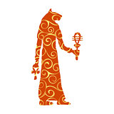 God Bastet cat egyptian pattern silhouette ancient egypt
