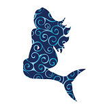 Mermaid siren pattern silhouette ancient mythology fantasy