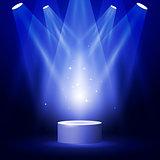Stage or podium in spotlight rays - blank award pedestal