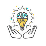 Creative idea - light bulb and brain icon supported with hands