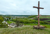 Wooden cross near spring Rukomysh Cave temple, Ternopil Region,