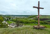 Wooden cross near spring Rukomysh Cave temple, Ternopil Region,