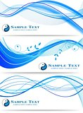 Blue wavy abstract banners set