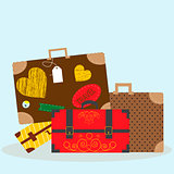 Vector illustration with luggage -bags and suitcases. Eps10 file.