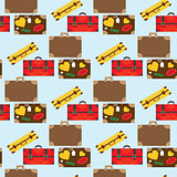 Seamless pattern with car with luggage. Vector illustration. Eps10 file.