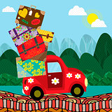 Car with luggage going to the trip . Vector illustration. Eps10 file.