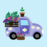 Purple car with flowers. Vector illustration.