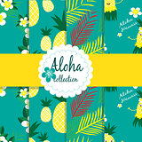 Tropical flowers , palm leaves. pineapple on background. Seamless vector patterns collection.