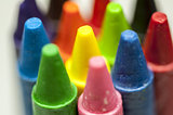Close-up of colorful crayons tips