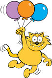 Cartoon Cat Holding Balloons.