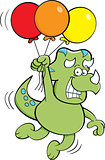 Cartoon Dinosaur Floating While Holding Balloons.