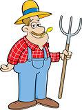Cartoon Farmer Holding a Pitchfork.