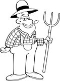 Cartoon Farmer Holding a Pitchfork.